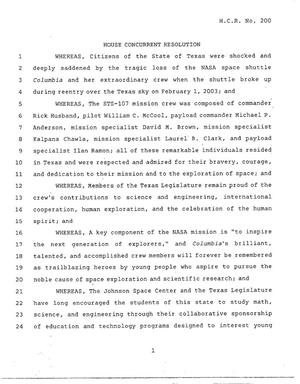 Primary view of object titled '78th Texas Legislature, Regular Session, House Concurrent Resolution 200'.