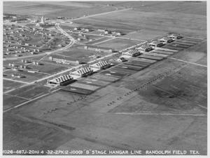 "Primary view of object titled '""B"" Stage Hangar Line at Randolph Field'."