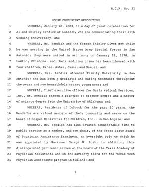 Primary view of object titled '78th Texas Legislature, Regular Session, House Concurrent Resolution 31'.