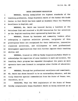 Primary view of object titled '78th Texas Legislature, Regular Session, House Concurrent Resolution 48'.