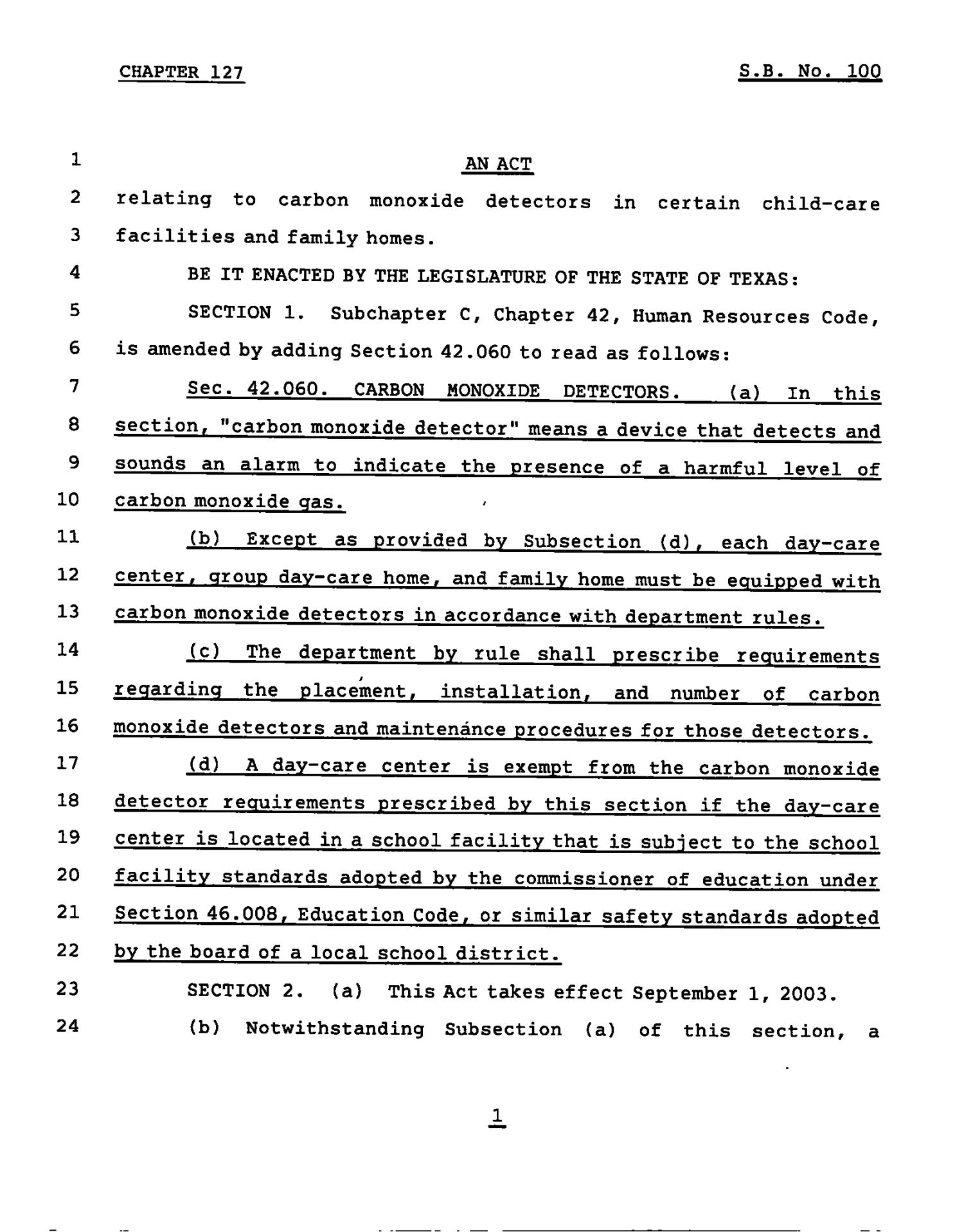 78th Texas Legislature, Regular Session,Senate Bill 100, Chapter 127                                                                                                      [Sequence #]: 1 of 3