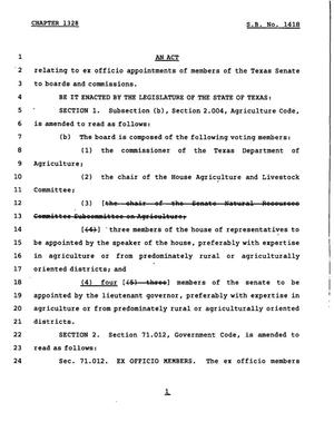 Primary view of object titled '78th Texas Legislature, Regular Session, Senate Bill 1418, Chapter 1328'.