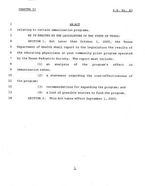 Primary view of object titled '78th Texas Legislature, Regular Session, Senate Bill 43., Chapter 53'.