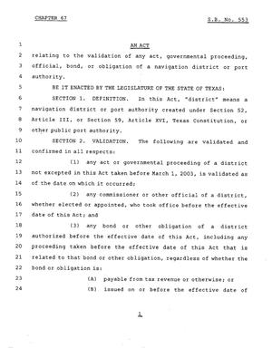 Primary view of object titled '78th Texas Legislature, Regular Session, Senate Bill 553, Chapter 67'.