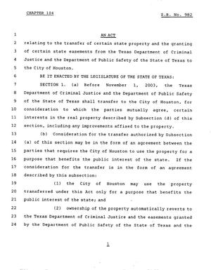 Primary view of object titled '78th Texas Legislature, Regular Session, Senate Bill 982, Chapter 104'.