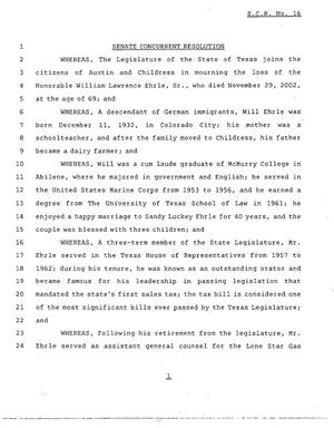 Primary view of object titled '78th Texas Legislature, Regular Session, Senate Concurrent Resolution 16'.