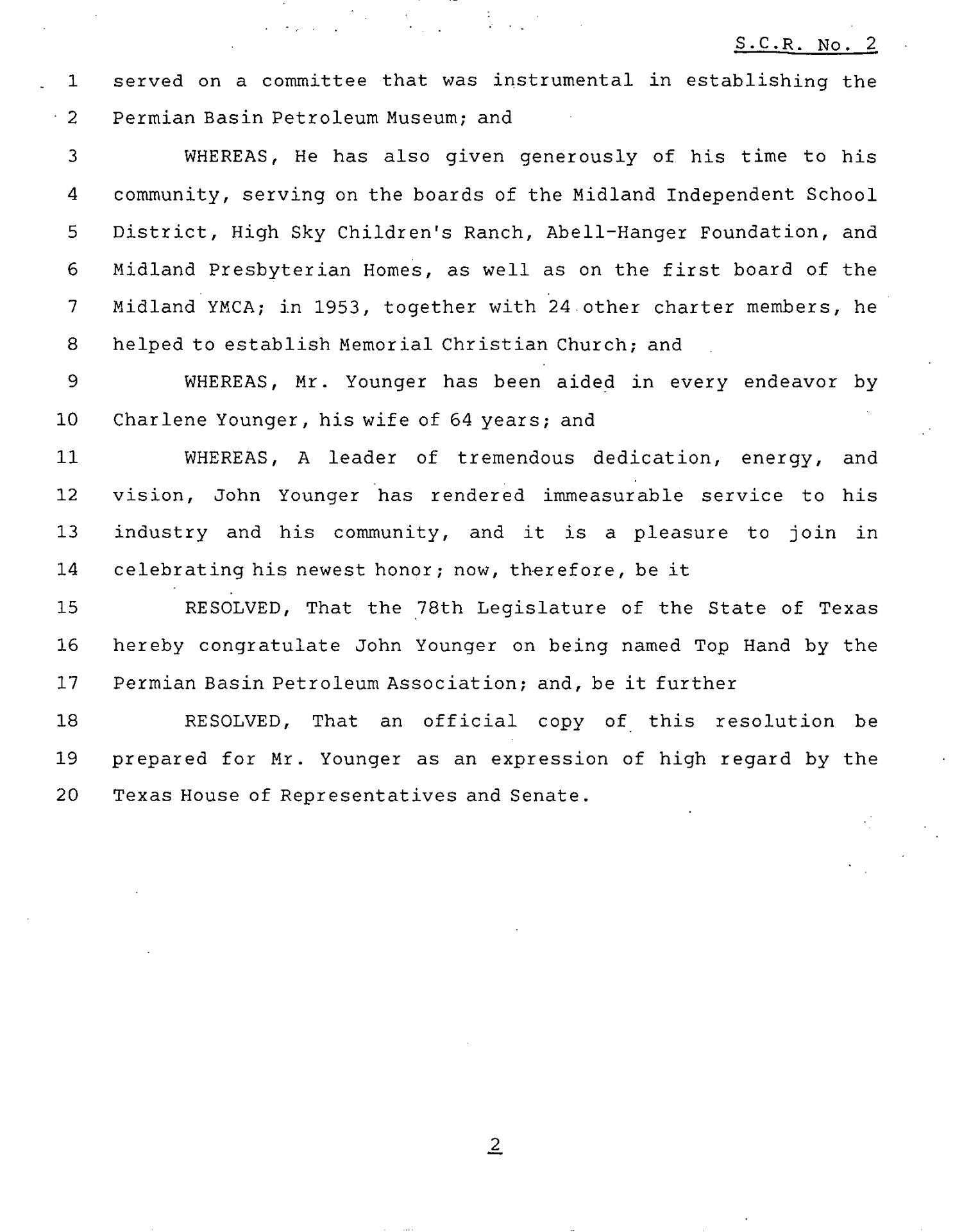 78th Texas Legislature, Regular Session, Senate Concurrent Resolution 2                                                                                                      [Sequence #]: 2 of 3