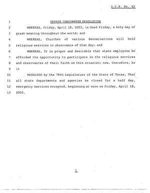 Primary view of object titled '78th Texas Legislature, Regular Session, Senate Concurrent Resolution 42'.