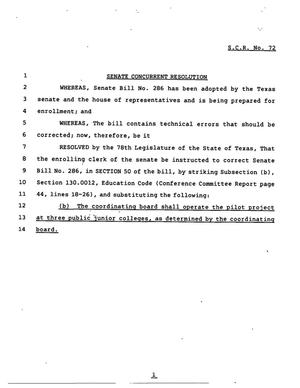 Primary view of object titled '78th Texas Legislature, Regular Session, Senate Concurrent Resolution 72'.