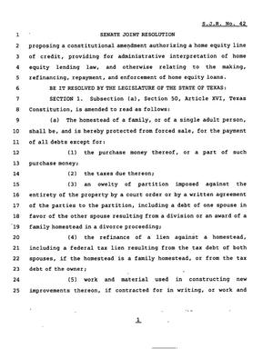 Primary view of object titled '78th Texas Legislature, Regular Session, Senate Joint Resolution 42'.