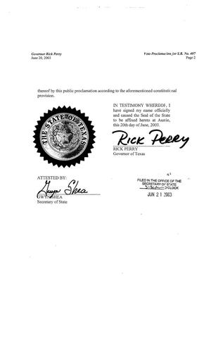 Primary view of object titled '78th Texas Legislature, Regular Session, Senate Bill 407, Vetoed'.