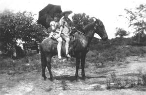Primary view of object titled '[Two Girls on Horse at San Gabriel River]'.