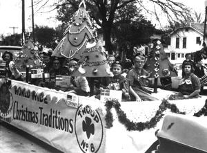 Primary view of object titled '[Girl Scout Float in the Christmas Parade]'.