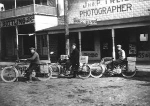 Primary view of object titled '[Martinets Bros on Motorcycles]'.
