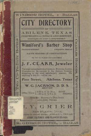 City Directory of Abilene, Texas: Comprising a Census and History, 1905