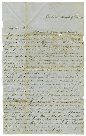 Primary view of object titled '[Letter from Maud C. Fentress to David W. Fentress, March 4, 1858]'.
