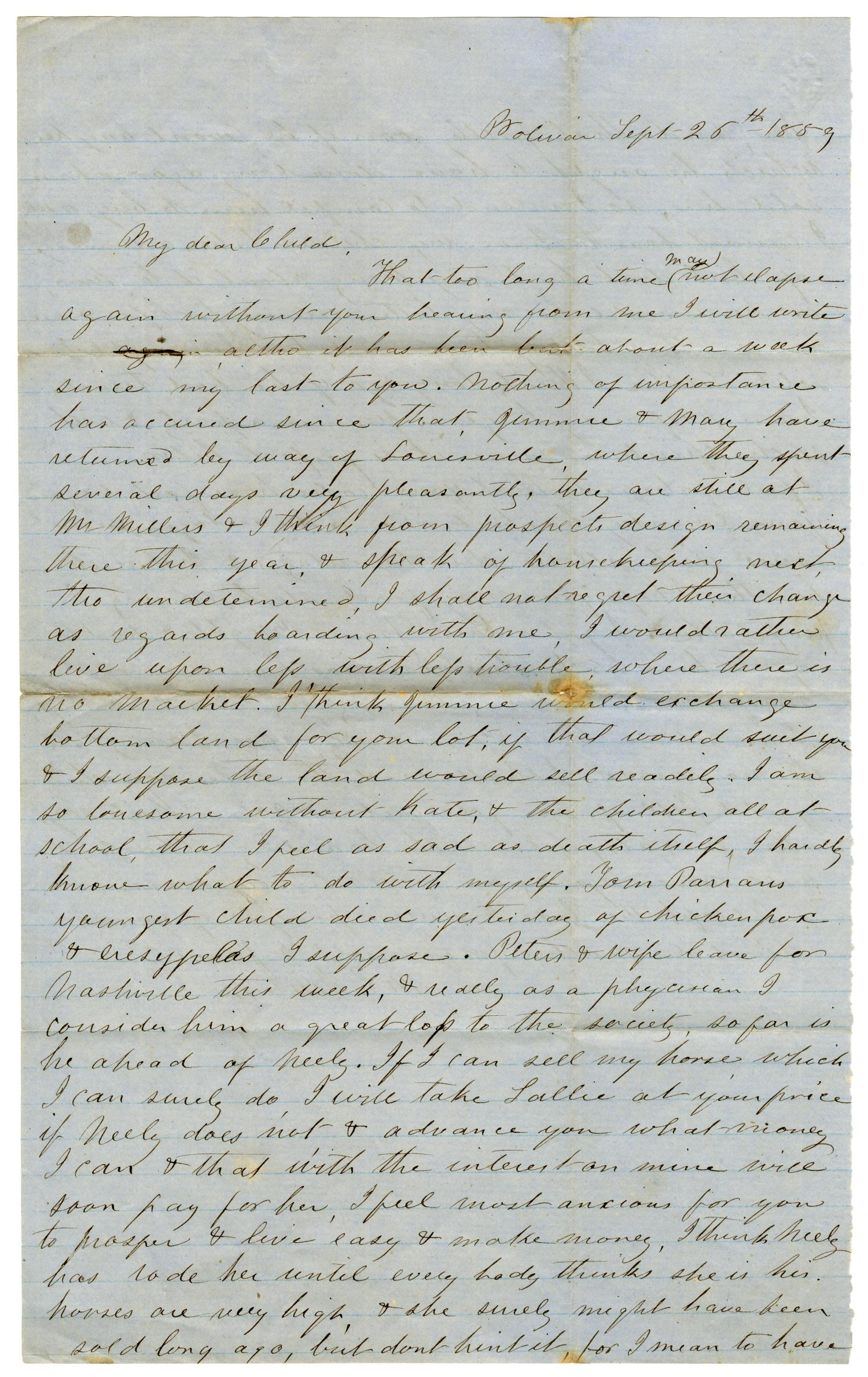 [Letter from Maud C. Fentress to David W. Fentress, September 26, 1859 ]                                                                                                      [Sequence #]: 1 of 2