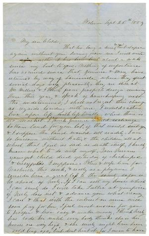 Primary view of object titled '[Letter from Maud C. Fentress to David W. Fentress, September 26, 1859 ]'.