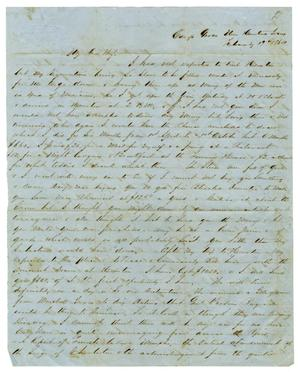 Primary view of object titled '[Letter from David Fentress to his wife Clara, February 19, 1864]'.