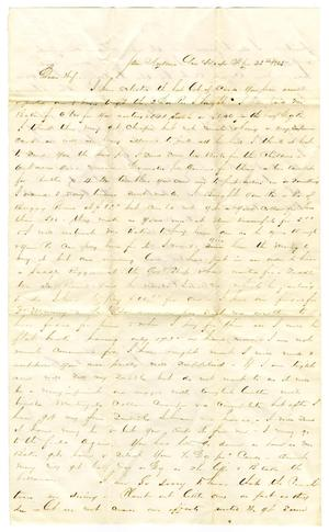 Primary view of object titled '[Letter from David Fentress to Clara Fentress, April 25, 1865]'.