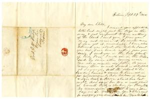 Primary view of object titled '[Letter from Maud C. Fentress to her son David Fentress - September 29, 1858]'.