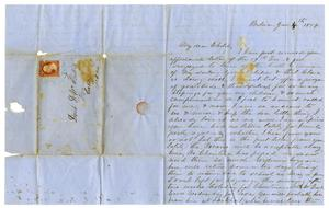 Primary view of object titled '[Letter from Maud C. Fentress to her son David, January 4, 1859]'.