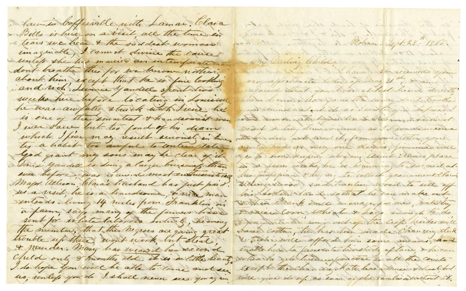 [Letter from Maud C. Fentress to David W. Fentress, September 28, 1865]                                                                                                      [Sequence #]: 1 of 4