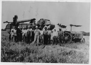 Primary view of object titled 'Alton, Guy and Wylie Reeves and Others with Tractors in the Field'.