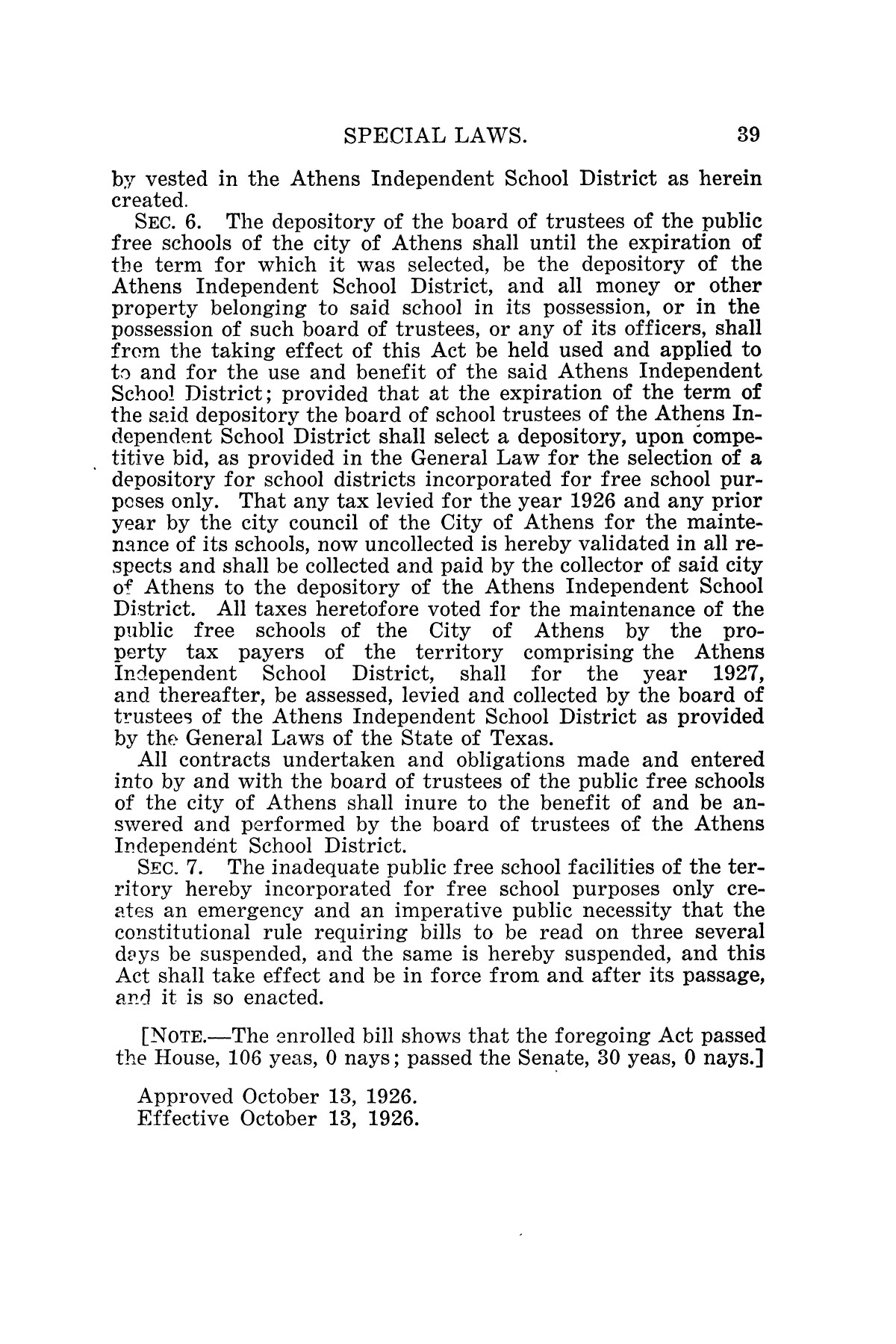 The Laws of Texas, 1926 [Volume 24]                                                                                                      [Sequence #]: 71 of 1784