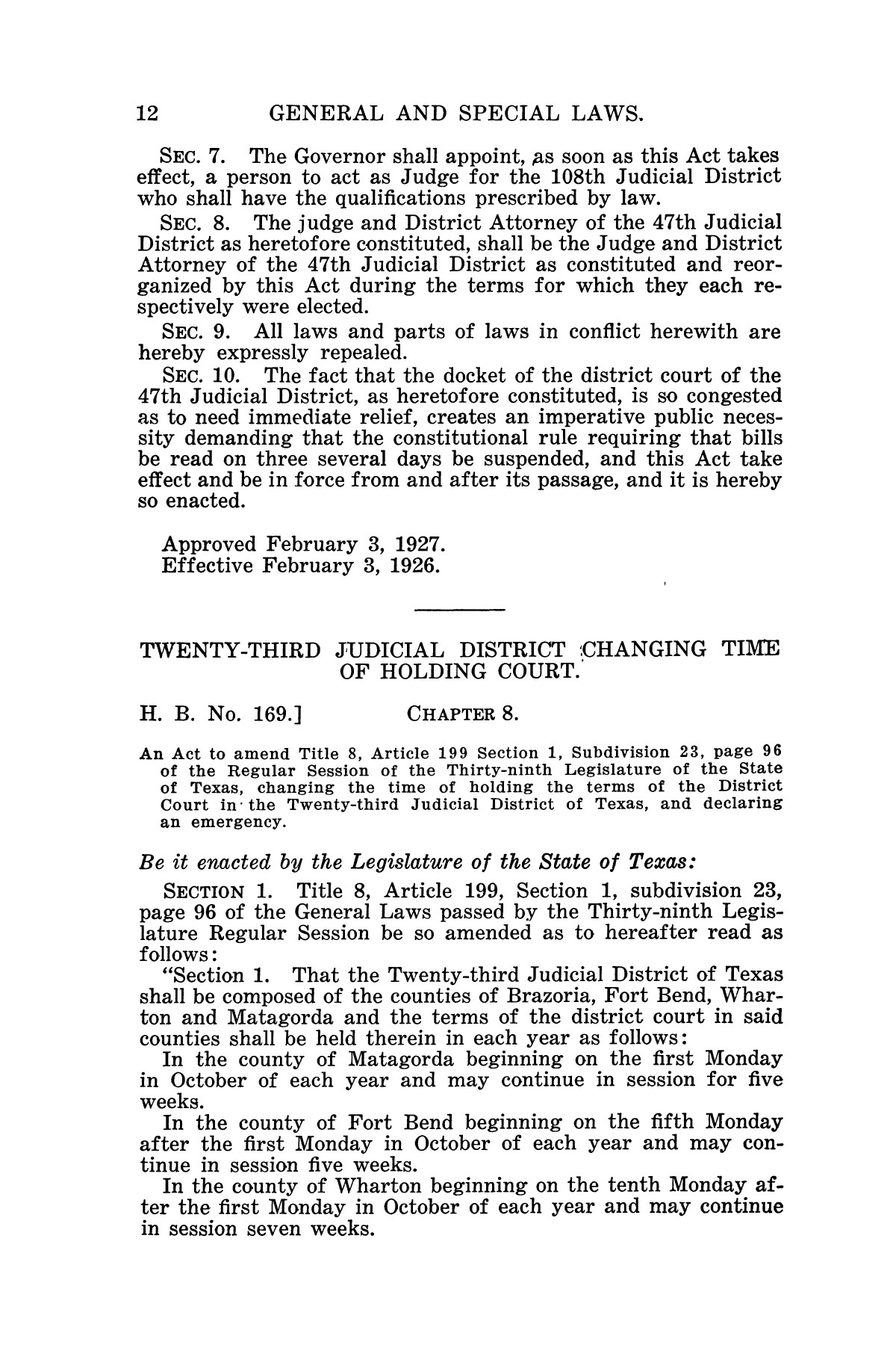 The Laws of Texas, 1927 [Volume 25]                                                                                                      [Sequence #]: 28 of 1111