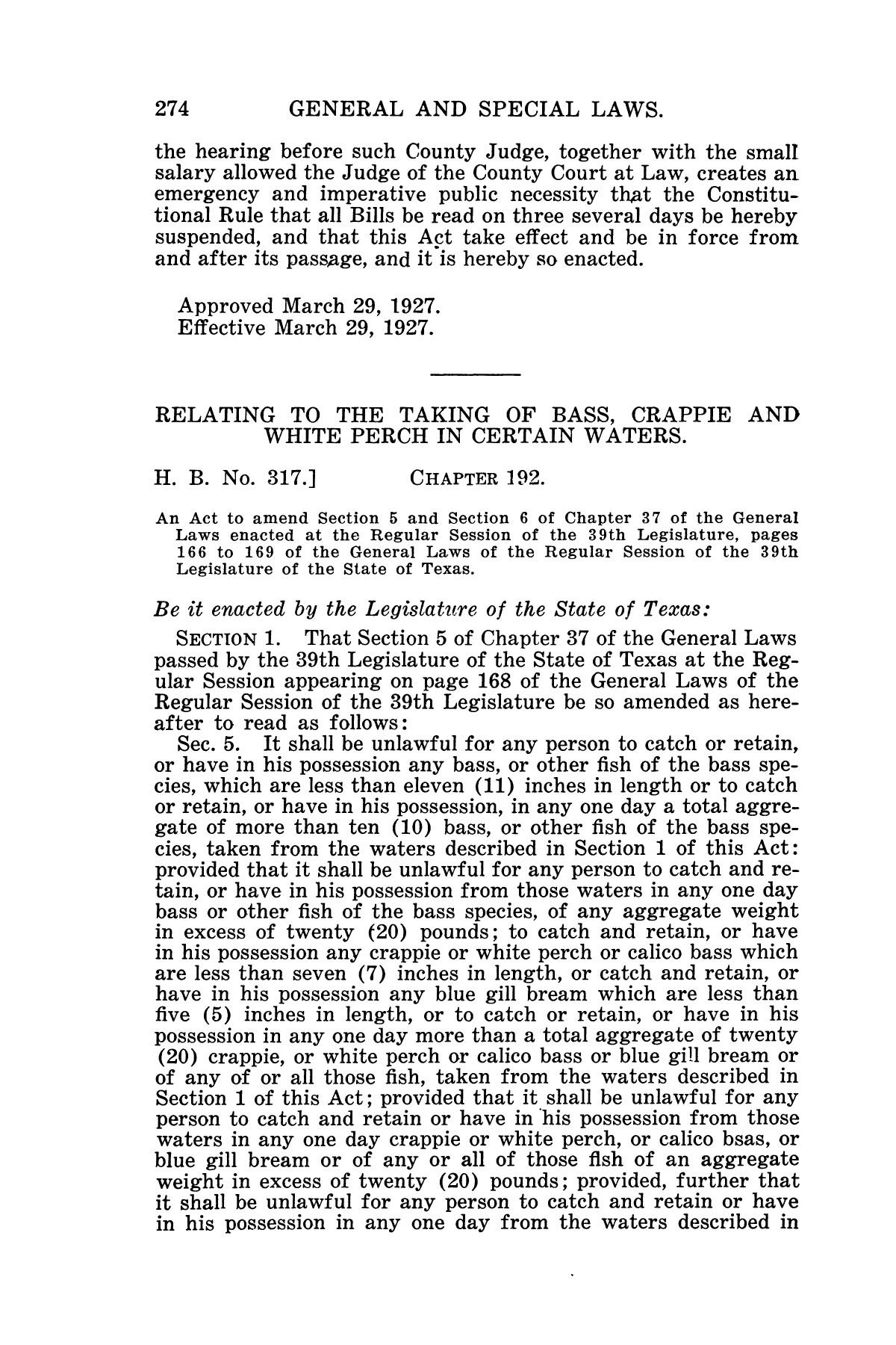 The Laws of Texas, 1927 [Volume 25]                                                                                                      [Sequence #]: 290 of 1111