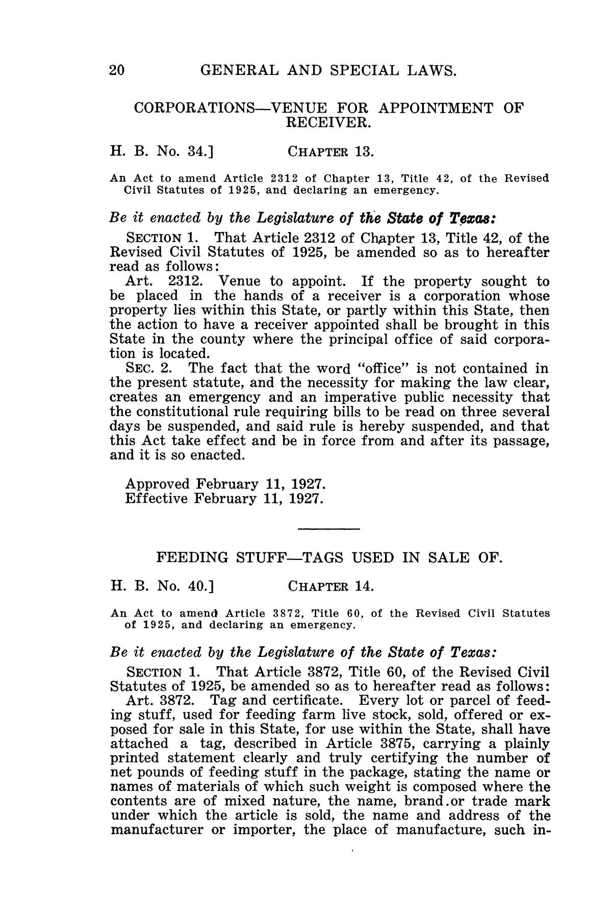 The Laws of Texas, 1927 [Volume 25]                                                                                                      [Sequence #]: 36 of 1111
