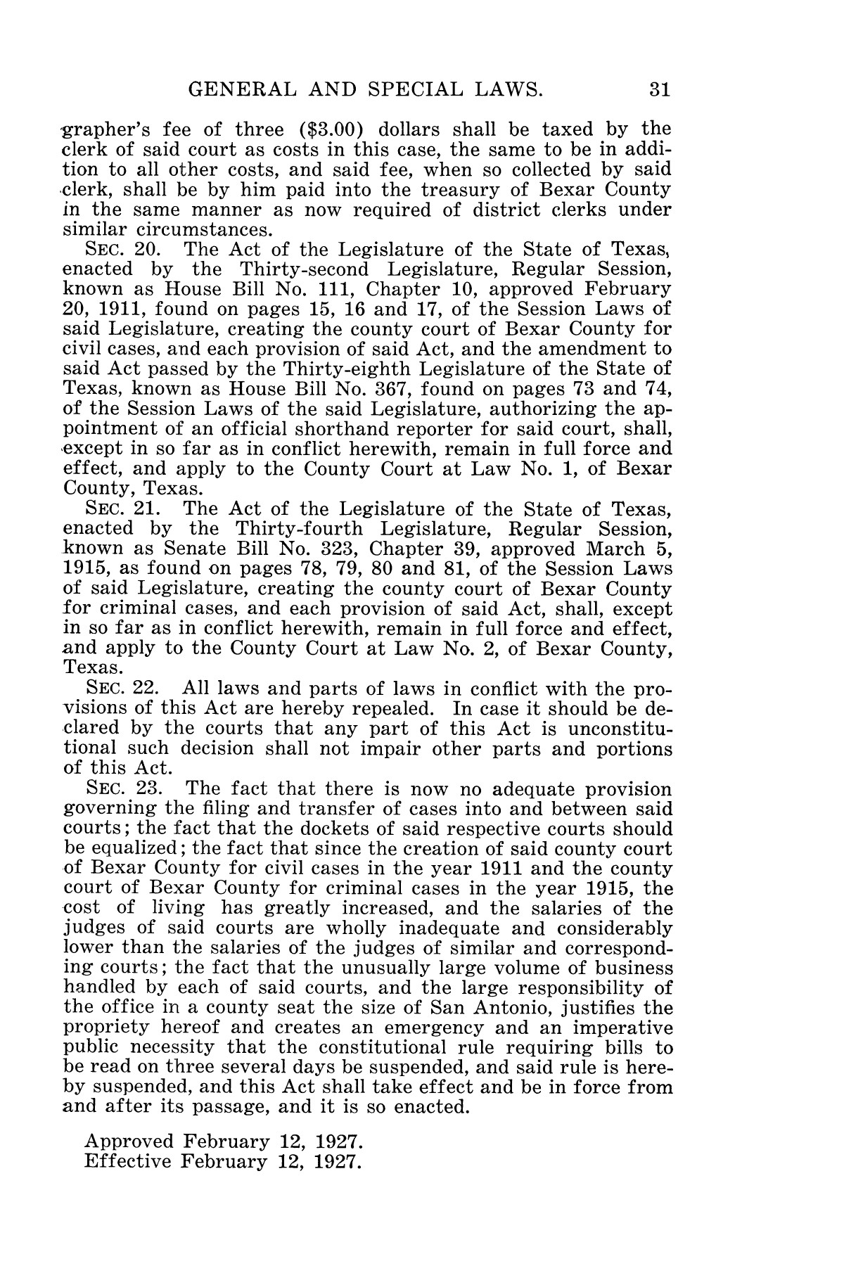 The Laws of Texas, 1927 [Volume 25]                                                                                                      [Sequence #]: 47 of 1111