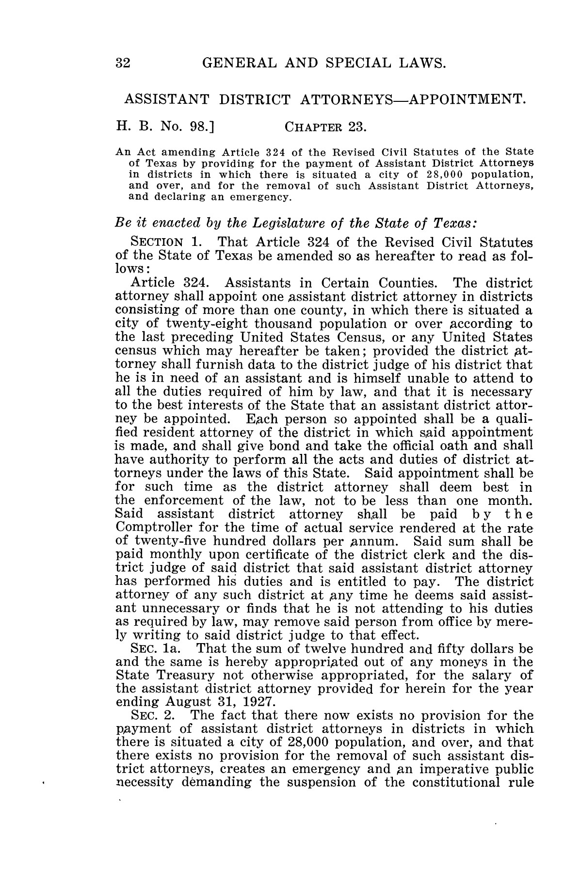 The Laws of Texas, 1927 [Volume 25]                                                                                                      [Sequence #]: 48 of 1111