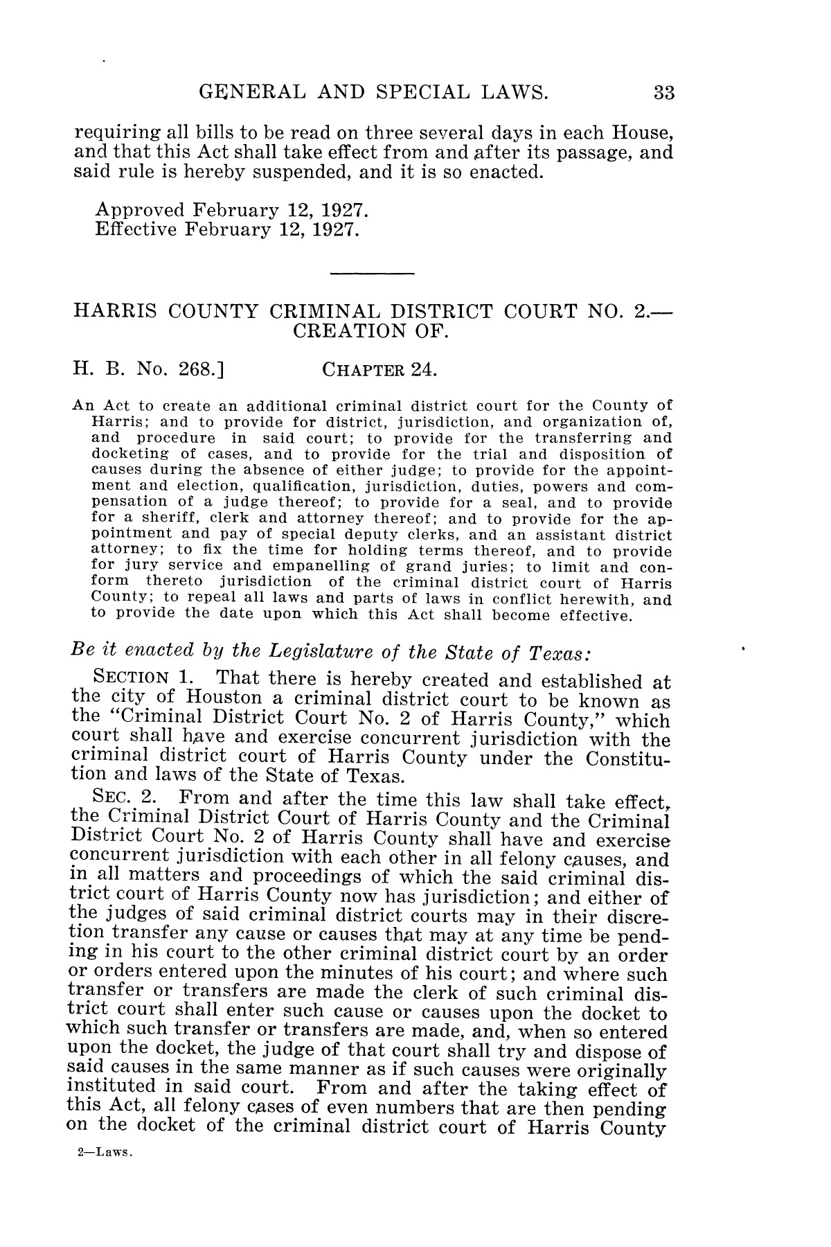 The Laws of Texas, 1927 [Volume 25]                                                                                                      [Sequence #]: 49 of 1111