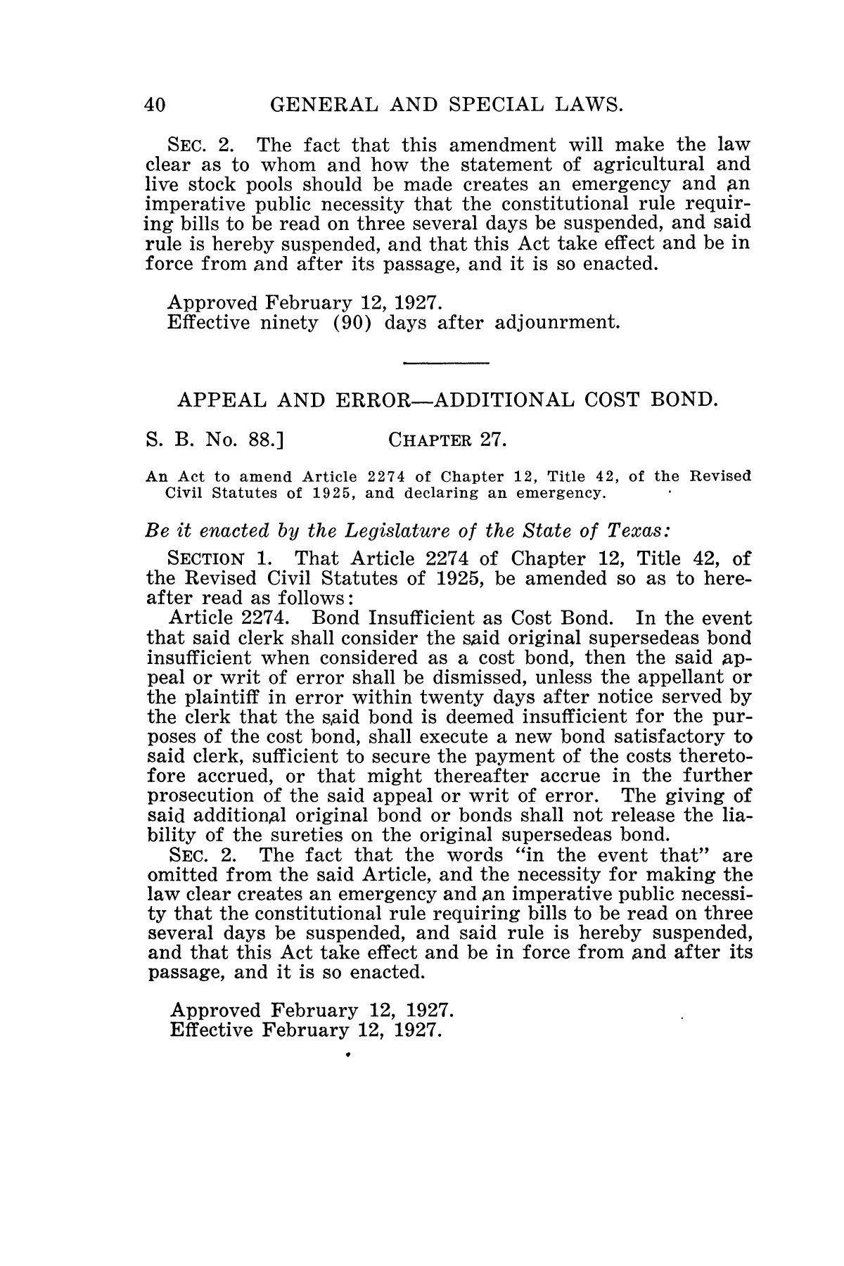 The Laws of Texas, 1927 [Volume 25]                                                                                                      [Sequence #]: 56 of 1111