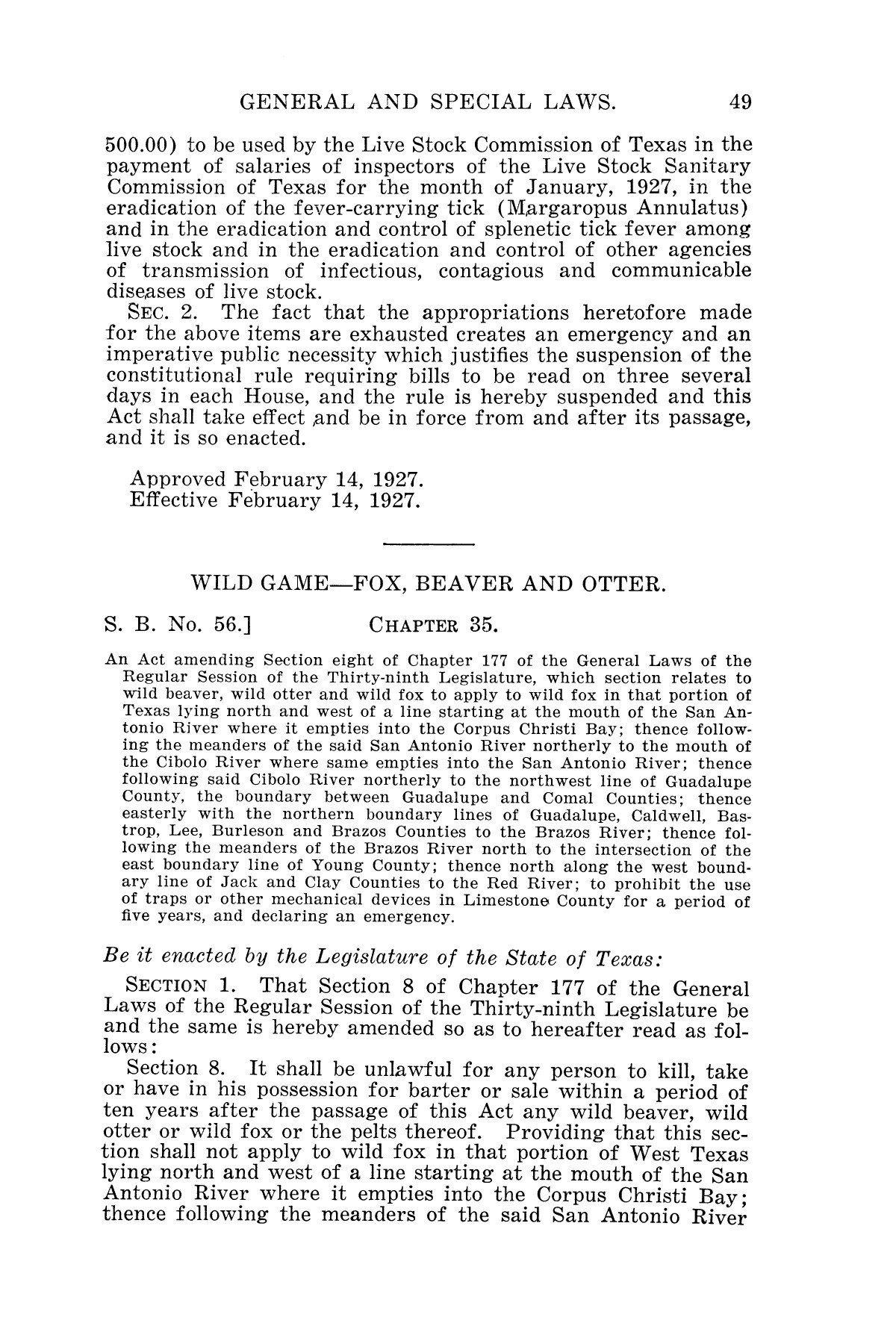 The Laws of Texas, 1927 [Volume 25]                                                                                                      [Sequence #]: 65 of 1111