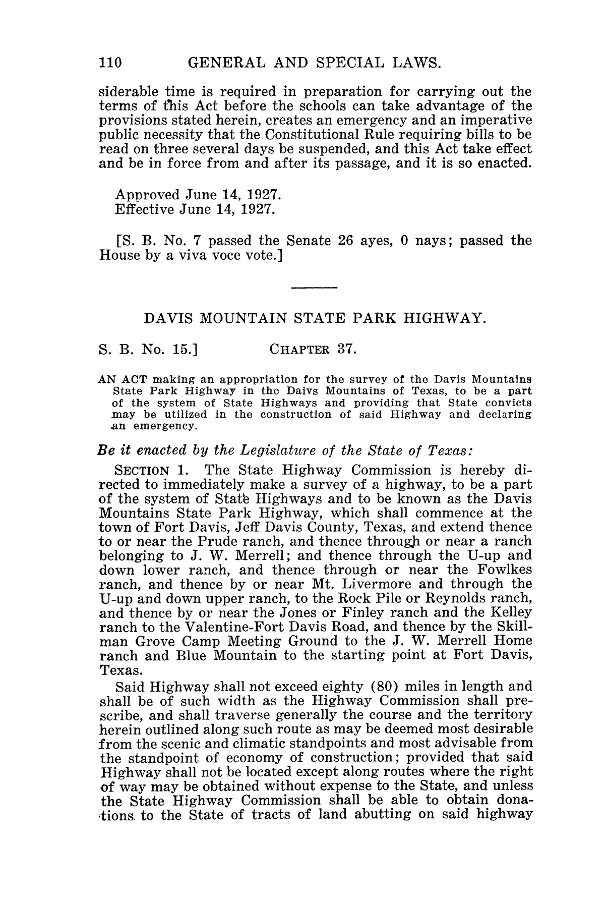 The Laws of Texas, 1927 [Volume 25]                                                                                                      [Sequence #]: 678 of 1111