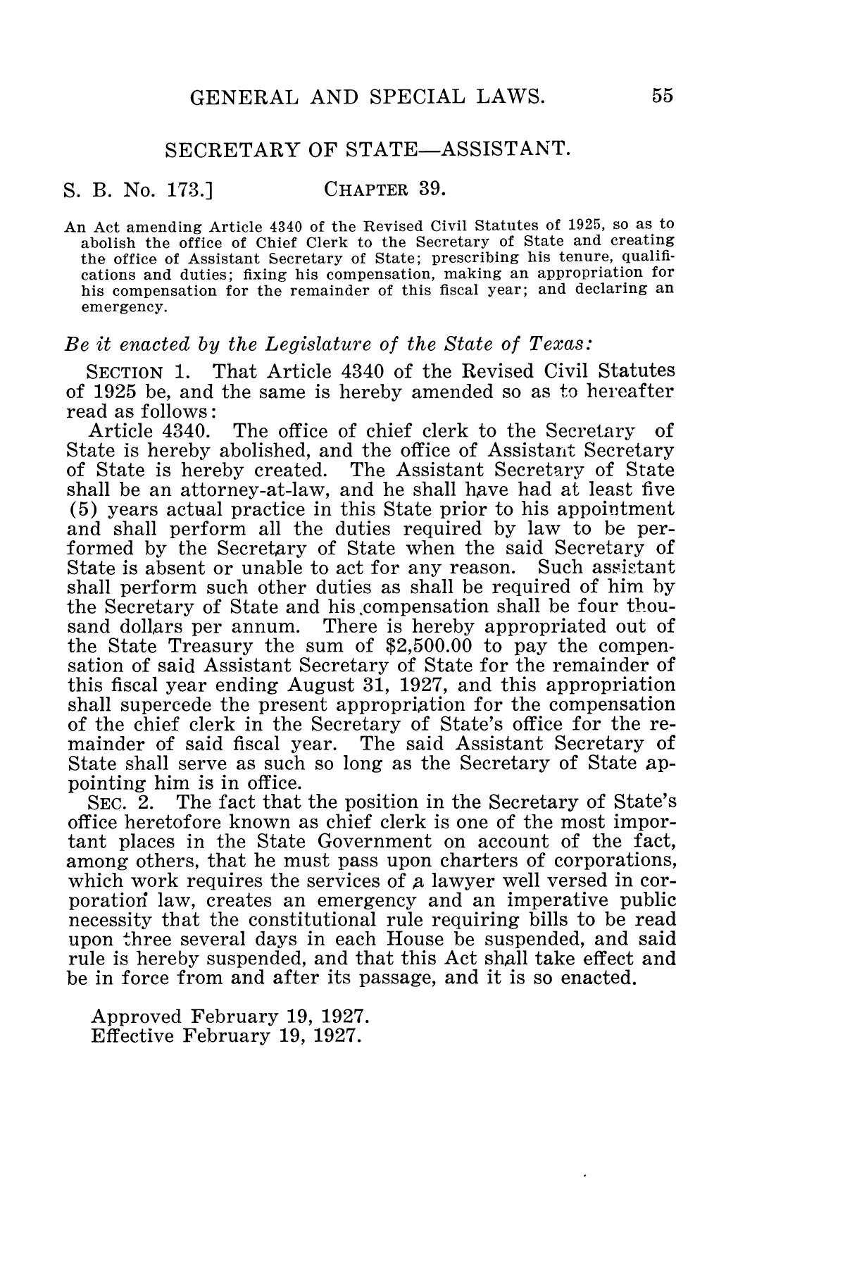The Laws of Texas, 1927 [Volume 25]                                                                                                      [Sequence #]: 71 of 1111