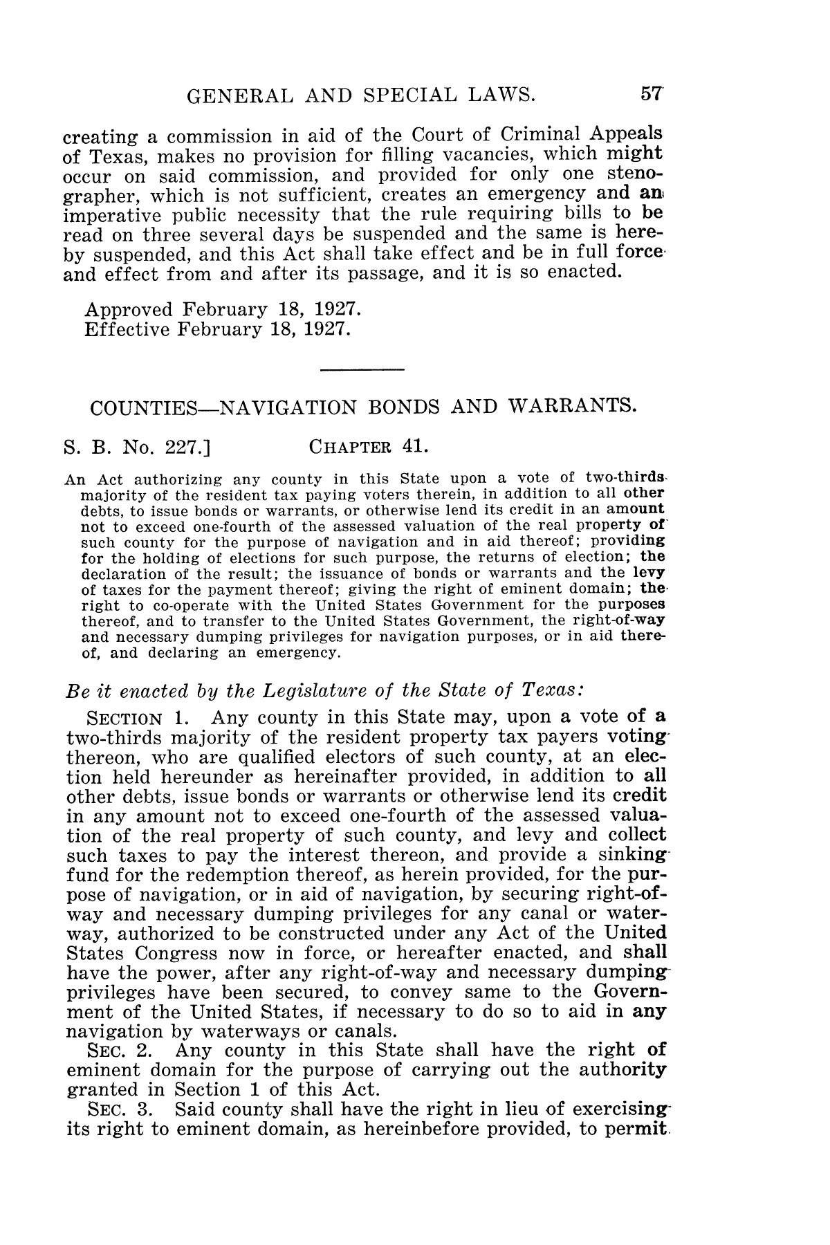 The Laws of Texas, 1927 [Volume 25]                                                                                                      [Sequence #]: 73 of 1111