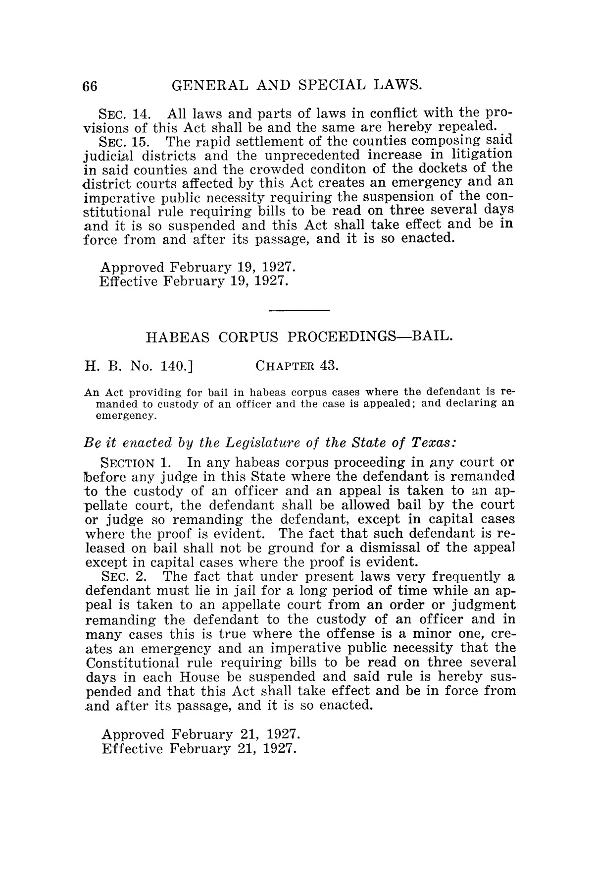 The Laws of Texas, 1927 [Volume 25]                                                                                                      [Sequence #]: 82 of 1111