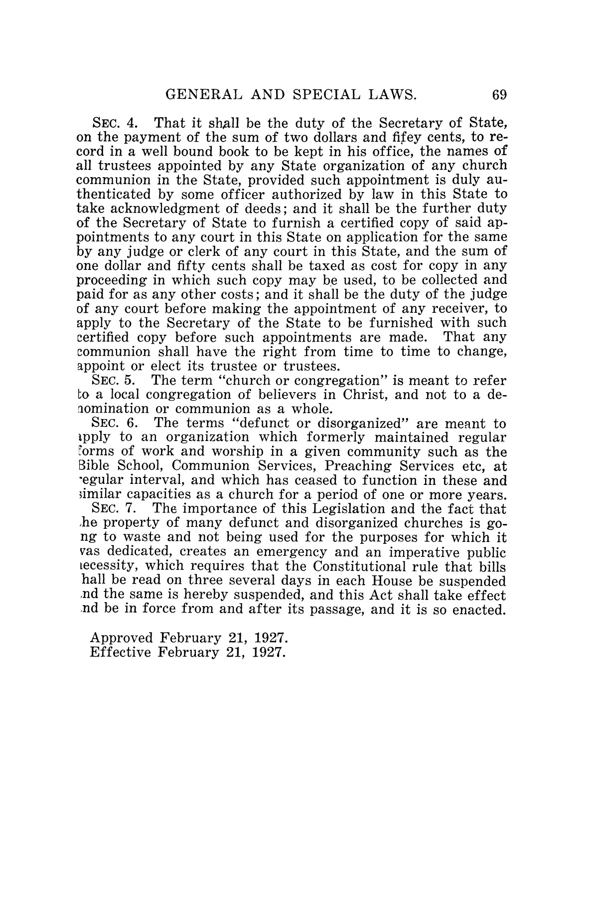 The Laws of Texas, 1927 [Volume 25]                                                                                                      [Sequence #]: 85 of 1111