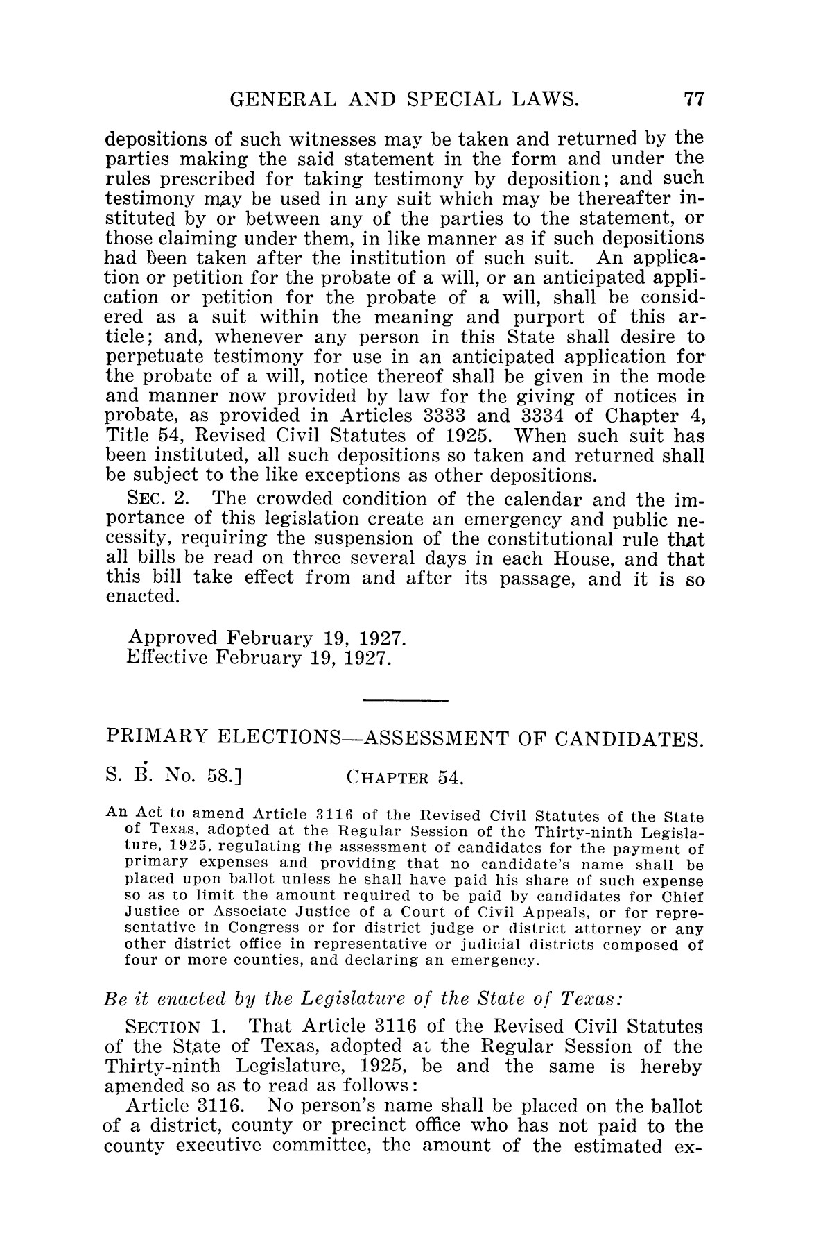 The Laws of Texas, 1927 [Volume 25]                                                                                                      [Sequence #]: 93 of 1111