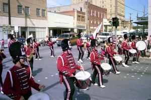 Primary view of object titled '[The Mineral Wells High School Band in the Bicentennial Parade]'.