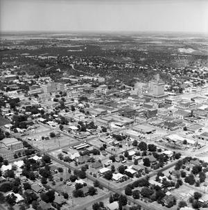 Primary view of object titled '[An Aerial Picture of Downtown Mineral Wells]'.