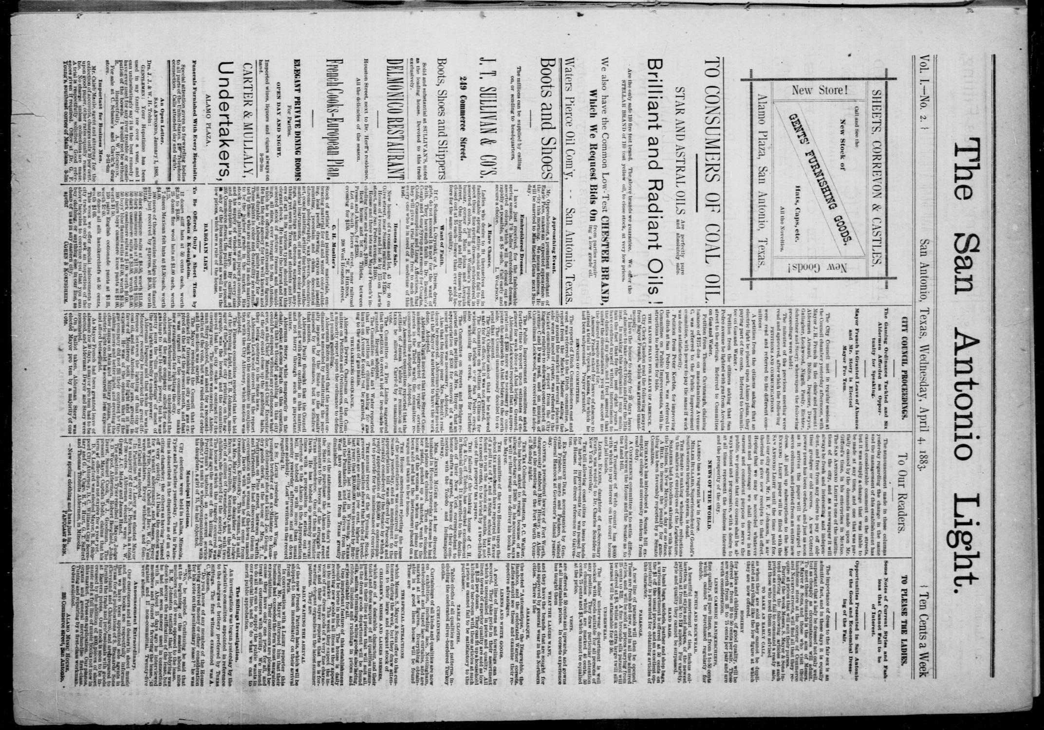 The San Antonio Light (San Antonio, Tex.), Vol. 1, No. 2, Ed. 1, Wednesday, April 4, 1883                                                                                                      [Sequence #]: 1 of 4