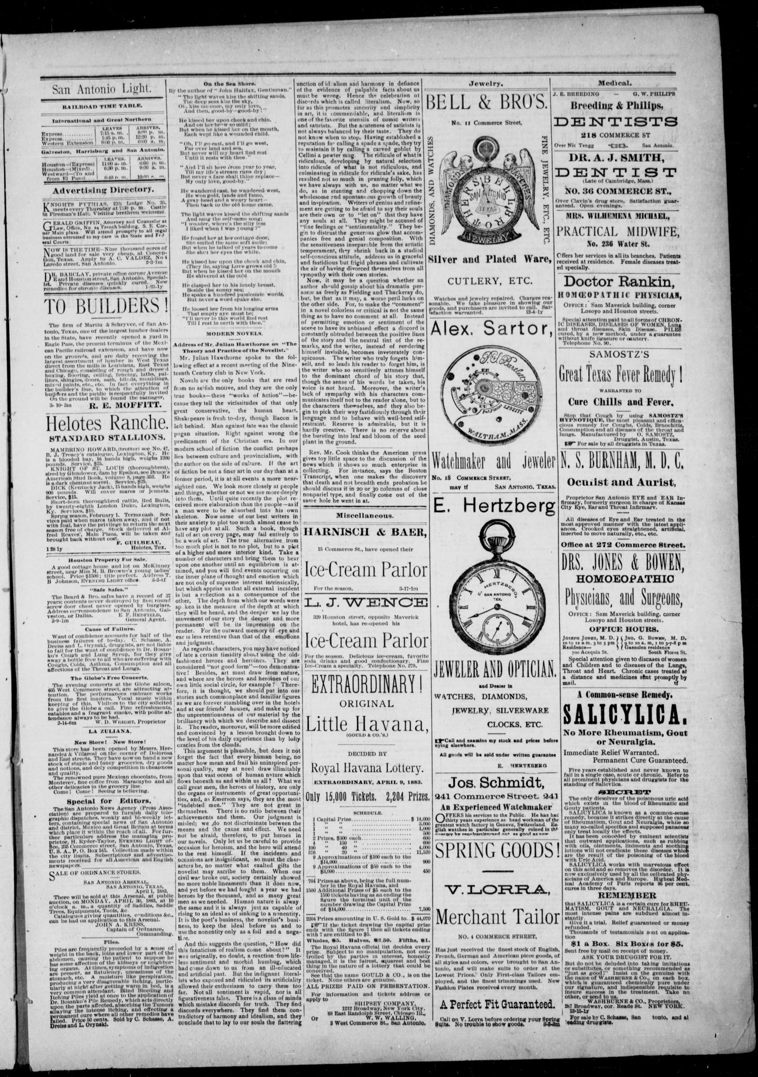 The San Antonio Light (San Antonio, Tex.), Vol. 1, No. 2, Ed. 1, Wednesday, April 4, 1883                                                                                                      [Sequence #]: 3 of 4