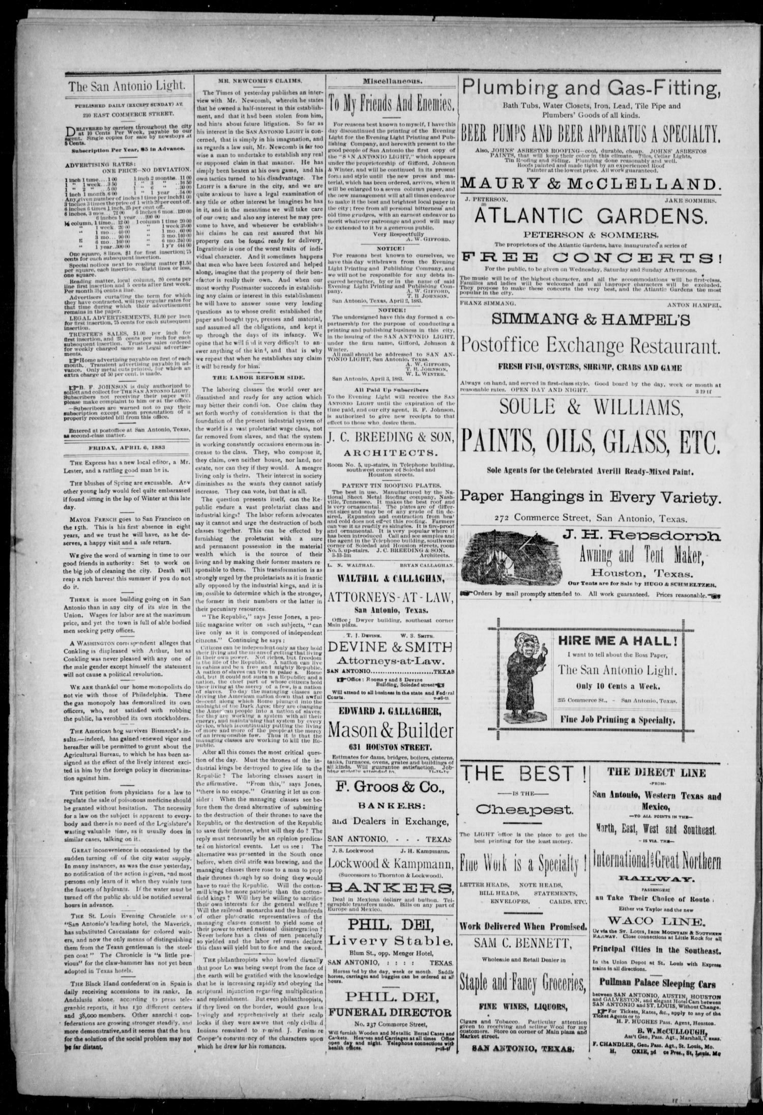 The San Antonio Light (San Antonio, Tex.), Vol. 1, No. 4, Ed. 1, Friday, April 6, 1883                                                                                                      [Sequence #]: 2 of 4