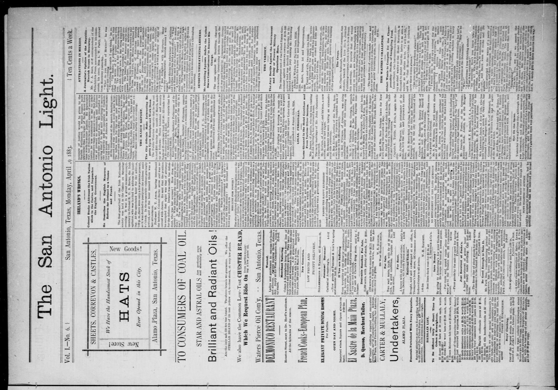 The San Antonio Light (San Antonio, Tex.), Vol. 1, No. 6, Ed. 1, Monday, April 9, 1883                                                                                                      [Sequence #]: 1 of 4