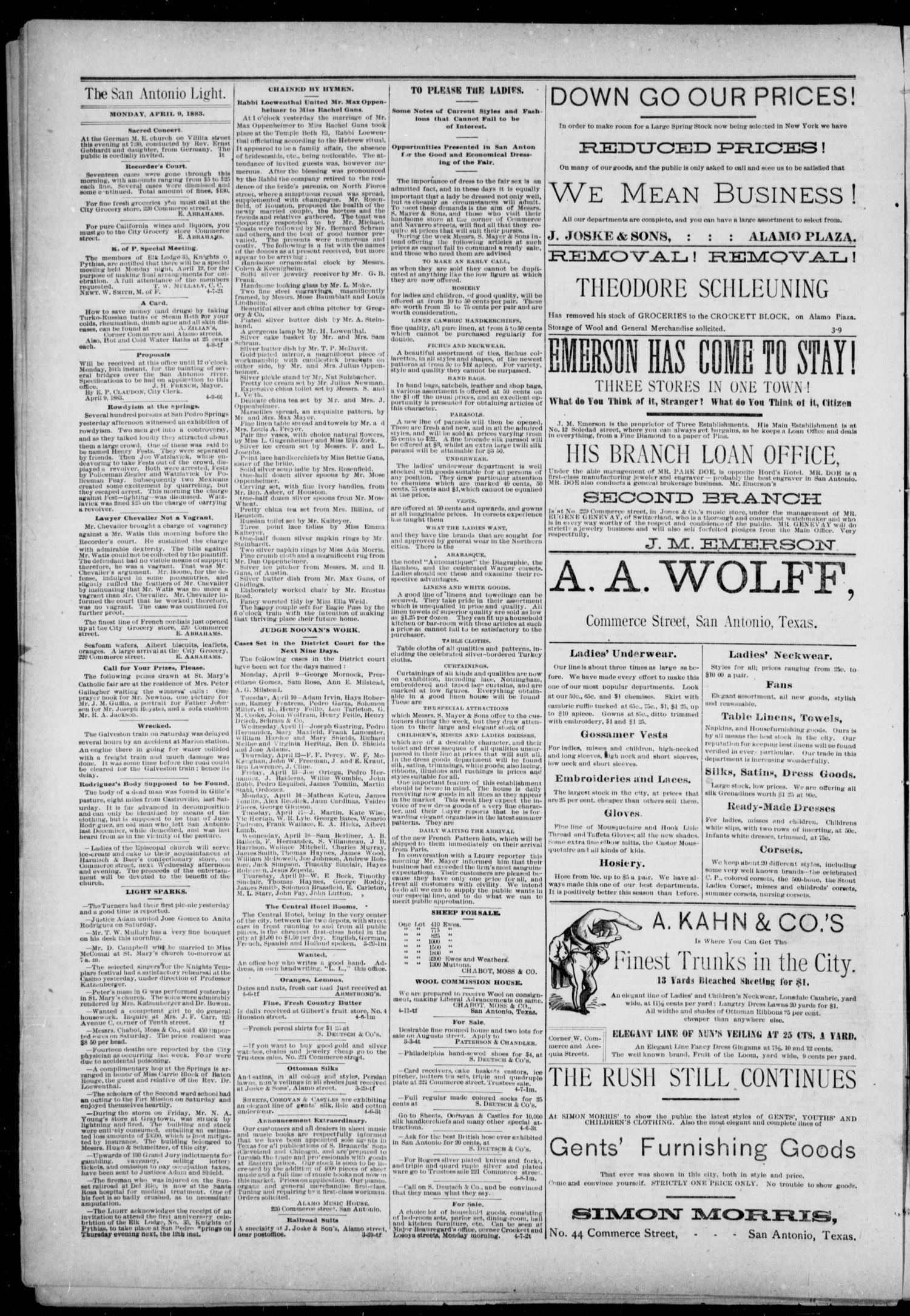 The San Antonio Light (San Antonio, Tex.), Vol. 1, No. 6, Ed. 1, Monday, April 9, 1883                                                                                                      [Sequence #]: 4 of 4